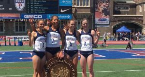Síofra  Cléirigh Büttner, right, with her Villanova team-mates after their victory in the Penn Relays at Philadelphia's  Franklin Field.