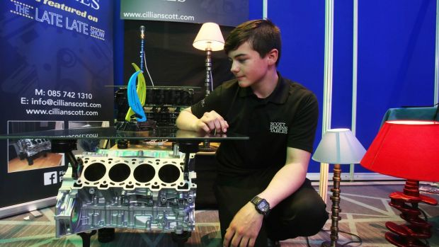 Cillian Scott (15), from Coláiste Chill Mhantáin in Wicklow, won the top award in the Intermediate Category at the Student Enterprise National Finals in Croke Park for his furniture made from recycled engine parts. Photograph: Leon Farrell/Photocall Ireland