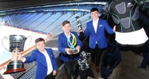 Cormac Spain, Carl Cullen  and Ross Byrne (all aged 17),  from Clonkeen College in Dún Laoghaire-Rathdown, who won the top award in the Senior Category at the   Student Enterprise National Finals in Croke Park for their ROC Protection hurling jersey.  Photograph: Leon Farrell/Photocall Ireland