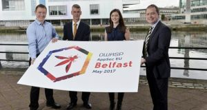 Launching the 2017 Open Web Application Security Project conference are OWASP Belfast co-founder Gary Robinson, Invest NI's Peter Harbinson, OWASP Belfast co-founder Michelle Simpson and Visit Belfast's Laurie Scott.