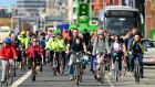 Councillors have delayed deciding on a route for the 6km Liffey Cycle Route, from Heuston Station to the 3Arena, until October. File photograph: Dara Mac Dónaill/The Irish Times