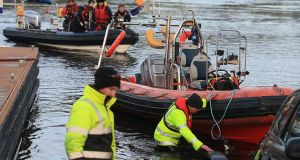 The search for Kieran McAree in Lough Erne, Enniskillen, in 2014. Photograph: John McVitty