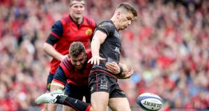Munster's Jaco Taute tackles Owen Farrell of Saracens during their Champions Cup semi-final last month. Photograph: Dan Sheridan/Inpho