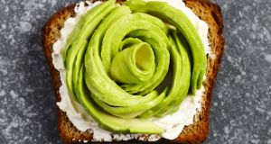 "The ""avocado rose"". This  fad has people cutting their avocados into thin slices, fanning out the slices so that they all overlap and then curling the slices towards the centre in imitation of a rose"