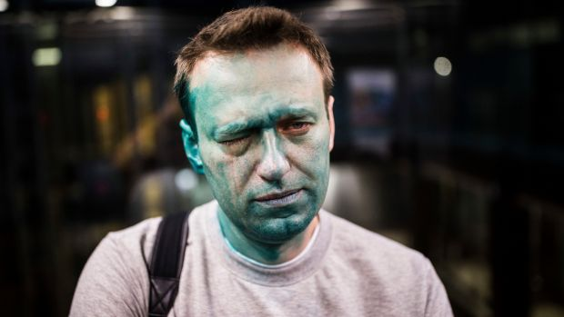 Russian opposition leader Alexei Navalny after unknown attackers doused him with green fluid outside a conference venue in Moscow, Russia, late last month. File photograph: Evgeny Feldman/Pool Photo via AP