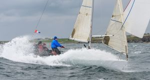 Winning quarter-tonner 'Diamond', skippered by James Matthews, surfs to victory in the last race of the Kinsale Yacht Club Spring Series. Photograph: Bob Bateman