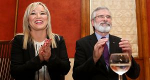 Michelle O'Neill and Gerry Adams of Sinn Féin. Photograph: Paul Faith/AFP/Getty Images