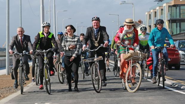 Dublin's Lord Mayor Brendan Carr and other cyclists on the Clontarf Road for the opening the new cycle path. Photograph Nick Bradshaw/The Irish Times.