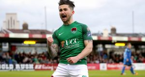 Cork's Sean Maguire celebrates scoring tagainst Bray Wanderers. Photograph: Ryan Byrne/Inpho