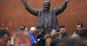 A statue of revered former owner Jack Walker  outside Ewood Park, home of Blackburn Rovers. Photograph:  Alex Livesey/Getty Images
