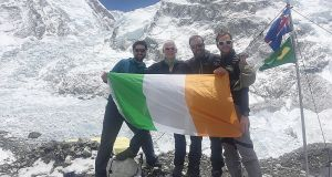Ireland on Everest: At base camp with Khumbu icefall in the background are, left to right: Cian O'Brolchain, Terry Kelleher, Rory McHugh, John Burke