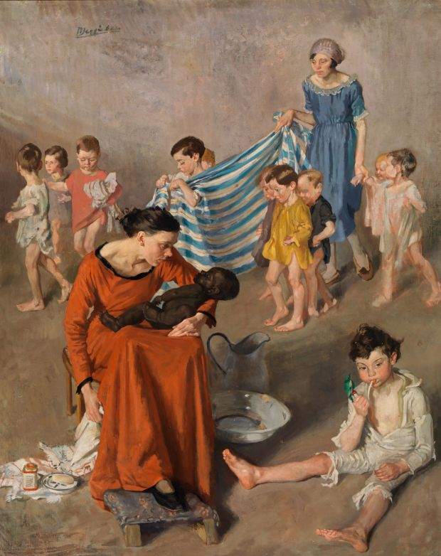 Bathtime at the Crèche, circa 1925, by Margaret Clarke. Copyright the artist's estate