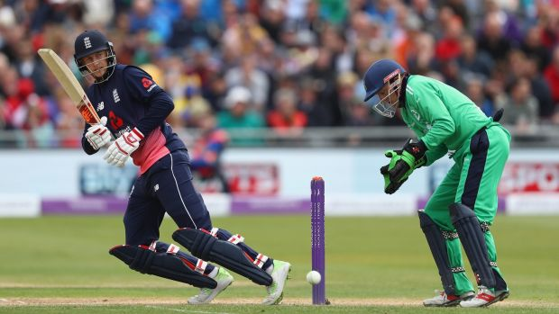 Root o plays to the legside as wicketkeeper Niall O'Brien looks on. Photo: Michael Steele/Getty Images