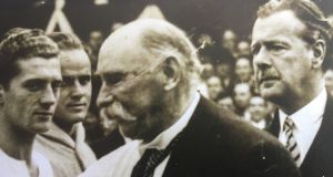 President Douglas Hyde and Polish consul Waclaw Dobrzynski at the match between Ireland and Poland in 1938