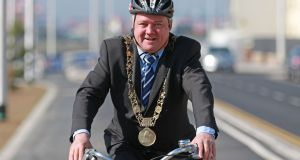 Dublin's Lord Mayor Brendan Carr on the Clontarf Road for the opening the new cycle path. Photograph Nick Bradshaw/The Irish Times.