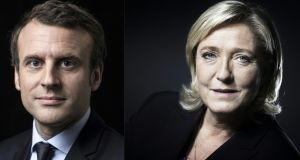 French presidential election candidates Emmanuel Macron,   for the En Marche! movement, and  Marine Le Pen,  for the far-right Front National party. Photographs:  Eric Feferberg,Joel Saget/AFP/Getty Images