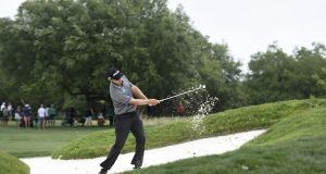 Seámus Power plays a bunker shot during the second round of the Wells Fargo Championship in Willmington, North Carolina. Photo: Getty Images