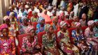 File photo showing 21 Chibok girls who were released by Boko Haram in October. Photograph: Getty