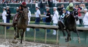 John Velazquez scored in the Kentucky Derby on board Always Dreaming (R) at Churchill Downs. Photograph: Garry Jones/AP