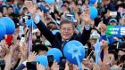 South Korean presidential candidate Moon Jae-in of the Democratic Party  during an election campaign on  Sunday. Photograph: Lee Jin-man/AP Photo