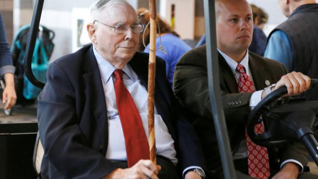 Berkshire Hathaway vice-chairman Charlie Munger over the weekend. Photograph: Rick Wilking/Reuters