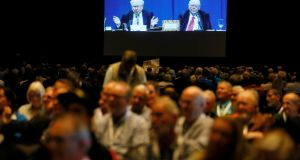 Berkshire Hathaway shareholders watch the company's annual meeting, at which Buffett and Munger rued several of the tech investments they never made. Photograph: Rick Wilking/Reuters