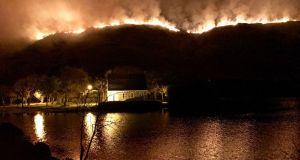 A gorse fire in Gougane Barra valley, Co Cork, which has burned since Saturday evening, covering some 4km at its peak. Photograph: Neil Lucey/PA Wire