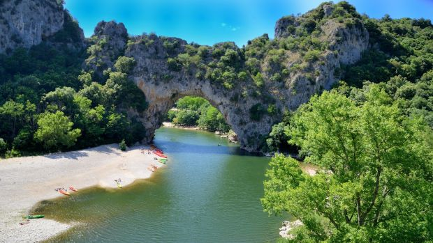 Kayaking in the Ardèche river gorge in France