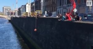 Onlookers cheer as a cat clinging to a lifebuoy is pulled out of the river Liffey by a passerby at Grattan bridge in Dublin city centre. Photograph: Lorcan Collins/@1916walkingtour