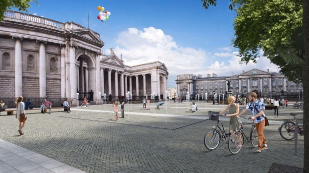 Computer generated image of the proposed new College Green Plaza in Dublin.