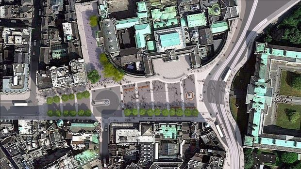 An aeriel view of the proposed new College Green Plaza in Dublin.