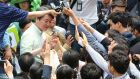 South Korean presidential candidate Ahn Cheol-soo of the People's Party is greeted by supporters during an election campaign in Seoul on  Monday. Photograph: AP Photo/Ahn Young-joon
