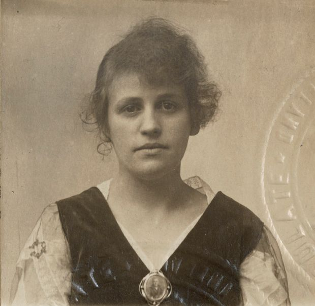Mary Esther Blanton's passport photograph, part of Portraits: Women of Cork and US Sailors' Irish Wives 1917-1919