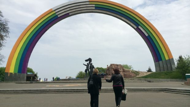 "For Eurovision, Kiev council ordered a Soviet-era monument to be redecorated in rainbow colours and renamed the ""Arch of Diversity"". Photograph: Daniel McLaughlin"