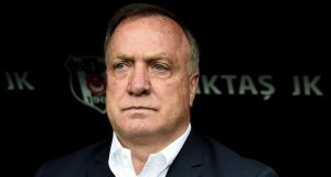 Fenerbahce's Dutch head coach Dick Advocaat looks on during the Turkish Spor Toto Super Lig football match against Besiktas on Sunday. Photograph: Getty Images