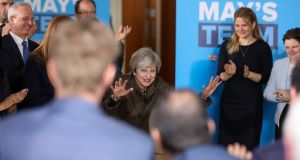 British prime minister Theresa May being applauded at a general election campaign event in Harrow, London, on Monday. Photograph: Chris Ratcliffe/EPA