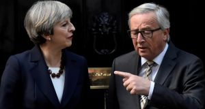 Britain's prime minister Theresa May with head of the European Commission Jean-Claude Juncker at Downing Street, London, on April 26th. Photograph: Hannah McKay/Reuters