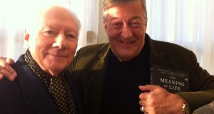 Gay Byrne and Stephen Fry. Photograph: RTÉ