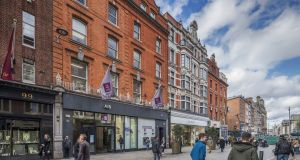The AIB building has dual frontage on to Grafton Street and Wicklow Street, Dublin
