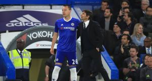 Chelsea's John Terry prepares to be subbed on at Stamford Bridge on Monday night. Photograph: PA