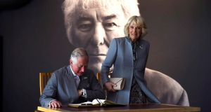 Prince Charles and his wife Camilla at the Seamus Heaney HomePlace in Bellaghy, Co Derry, on Tuesday. Photograph: Clodagh Kilcoyne/Reuters