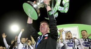 Dundalk Manager Stephen Kenny lifts the Premier Division trophy following another highly successful season. Photograph: Ryan Byrne/Inpho
