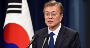 South Korea's new president Moon Jae-In speaks during a press conference at the presidential Blue House in Seoul on Wednesday. Photograph: Getty