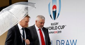 Ireland head coach Joe Schmidt arrives for the Rugby World Cup pool draw with Wales head coach Warren Gatland. Photograph: Issei Kato/Reuters