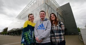 Arts student Rebecca Thornton, computer science student Daniel Flanagan and arts student Alisha Boylan who have taken part in a new critical skills module at Maynooth University. Photograph: Nick Bradshaw