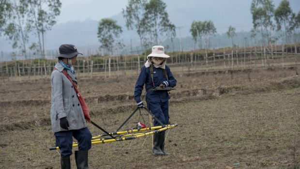Staff from Mines Advisory Group (MAG) carry a loop detector across a rice field during a demining mission for a local farmer in Phonsavan, northeast Laos. Photograph: Brenda Fitzsimons