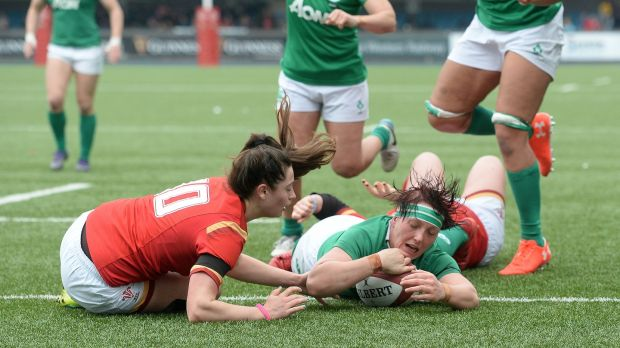 Lindsay Peat scores a try for Ireland against Wales at the Cardiff Arms Park during this year's Women's Six Nations. Photograph: Ian Cook/Inpho