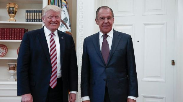 US president Donald Trump with Russian foreign minister Sergei Lavrov at the White House on Wednesday. Photograph: Russian foreign ministry/EPA