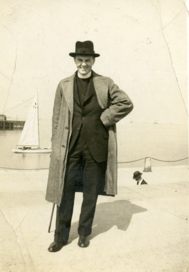 Julie Parsons' grandfather Canon George Chamberlain on the East Pier in Dún Laoghaire in the 1930s