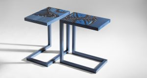 Zelouf-Bell blue butterfly end tables